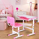 lahomie- Children Desk and Chair Set, Height Adjustable Kids Homework Desk Chair Set, Student Writing Desk Kids Study Table with Storage Drawer(Pink)