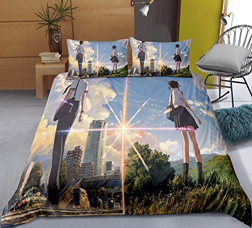 Chzhcc Three-piece Quilt Cover for Your Name Miyamizu Mitsuha and Tachibana Taki, 3D Anime Quilt Pillowcase, 100% Polyester, Soft and Comfortable, Bedding for Otaku and Anime Fans, Best Birthday Gift