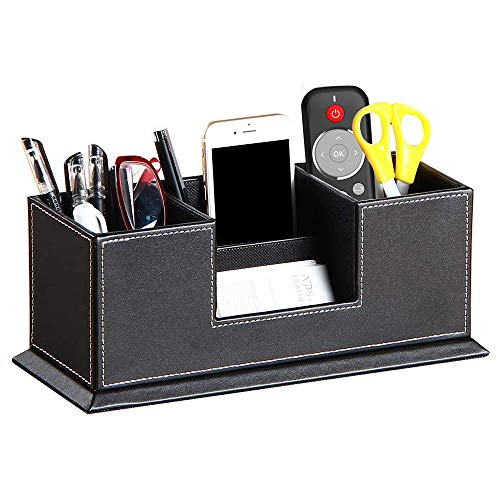 YAPISHI PU Leather Desk Organizer with 4 Compartment,Pen Holder,Pencil Cup,Office Supplies Desktop Storage Box for Business Card/Mobile Phone/Remote Control/stationery/College Dorm Collection