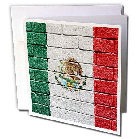 National vlag van Mexico geschilderd Brick Wall Mexicaanse - wenskaart, 15,2 x 15,2 cm, Single (GC 156940 5)