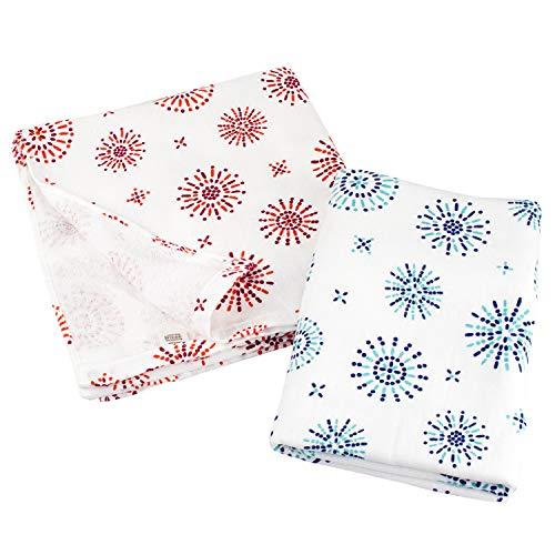 ブルーム ガーゼタッチ バスタオル 同柄色違い 2枚セット 日本製 ガーゼタオル (はなび(ブルー・レッド))