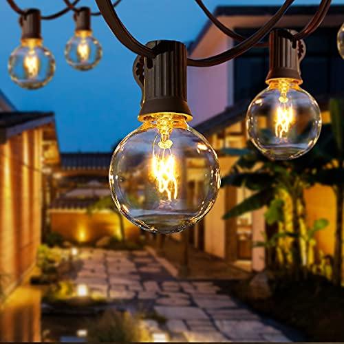 Lichterkette Außen AETKFO Lichterkette Glühbirnen G40 9.5m 25er Globe Birnen Lichterkette Garten für Weihnachten Hochzeit Party Aussen Garten Dekoration Warmweiß