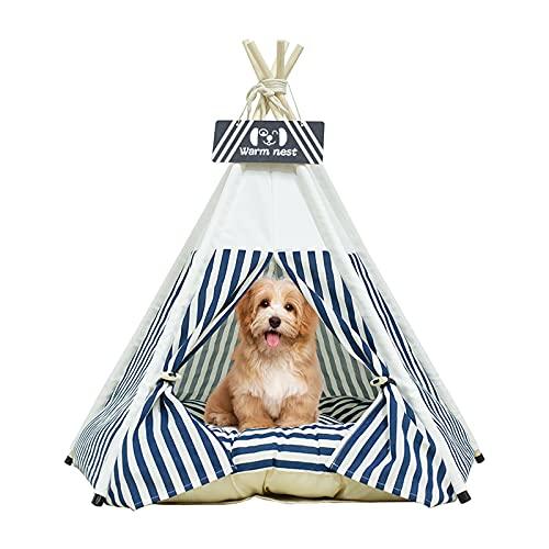 Tipi para Mascotas | Perrera para Perros& Gatos | Tienda para Mascotas con CojIn - Cortinas&Casas De Pizarra De Lujo (Tiras Azules)