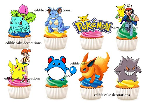 Ediblecakedecorations 30 x Cupcake-Topper aus essbarem Papier, Motiv: Pokemon Party