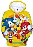 Silver Basic Sudadera con Capucha Sonic para Adultos y Nios Inspirada en la Pelcula Sonic The Hedgehog Sudadera Sonic Videojuego Disfraz De Sonic S, 85Sonic Amarillo-4