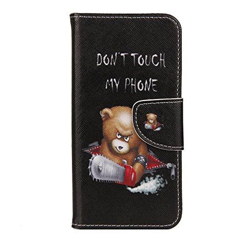 Honor 7A / Huawei Y6 2018 Hülle Leder, Brieftasche Handyhülle Flip Wallet Cove Silikon Schutzhülle Hülle mit Kartenfach Magnetisch Klapphülle für Huawei Y6 Prime 2018,Bär