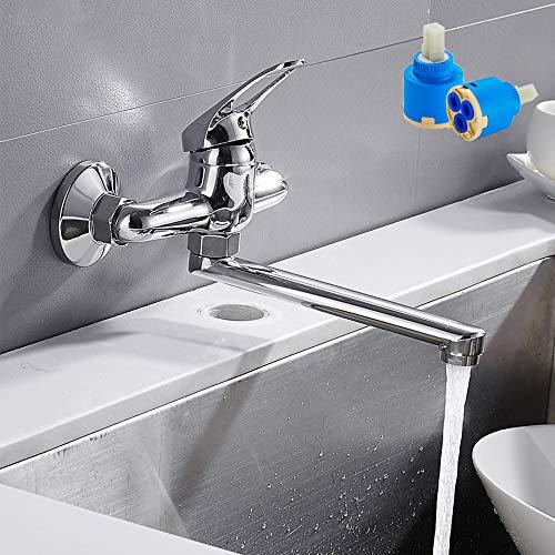 Grifo de cocina de pared con boquilla orientable, monomando empotrado para fregadero de cocina de acero inoxidable giratorio 360° para fregadero de cocina cuarto de baño (plata)