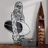 N / A Surfen Chubacca Wandtattoo Star Wars Art Deco Wandbild Kinderzimmer Vinyl Sticker42x39cm