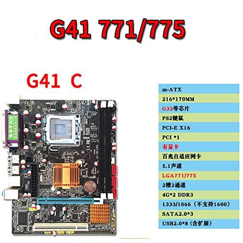MeterMall G41 - Placa Base de Escritorio para Intel LGA771/775 CPU DDR3 Ranura de Memoria RTL8105E Gigabit LAN integrada con Puerto VGA