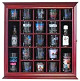 21 Shot Glass Shooter Display Case Holder Rack Wall Cabinet, Glass Door, SC01 (Cherry Finish)