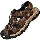 Lvptsh Sandalias Hombre Zapatillas de Senderismo Transpirable Peso Ligero Cuero Camper Deportivas Sandalias Al Aire Libre Pescador Playa Zapatos,Marron oscuro,EU38