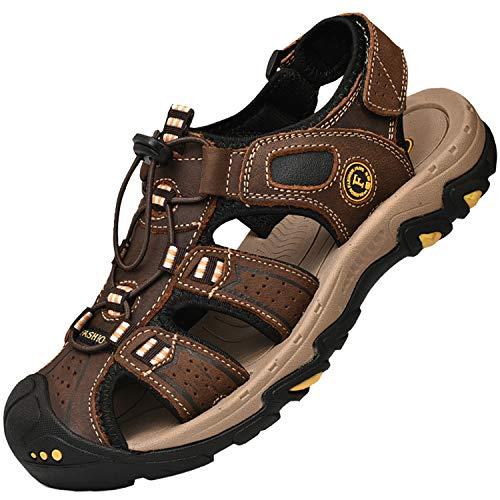 Lvptsh Sandalias Hombre Zapatillas de Senderismo Transpirable Peso Ligero Cuero Camper Deportivas Sandalias Al Aire Libre Pescador Playa Zapatos,Marron oscuro,EU42