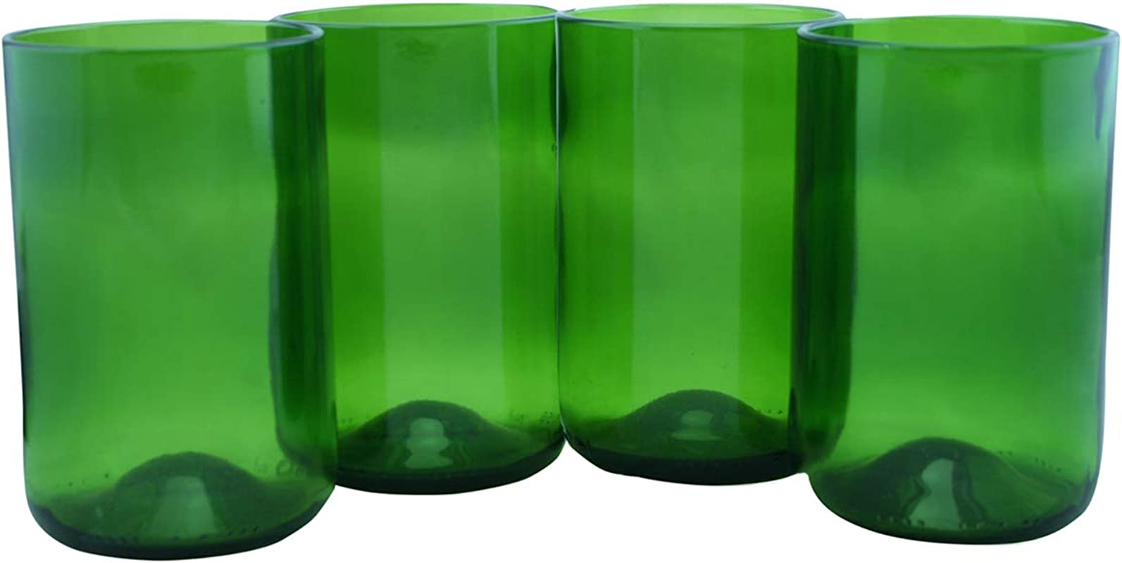 Tumblers Drinking Glasses Made From Recycled Wine Bottles 12 Oz Set Of 4 Dark Green 12 Oz