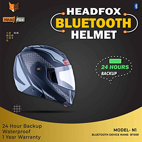 HEADFOX CX Smart Bluetooth N1 Motorbike Helmet (CX Grey