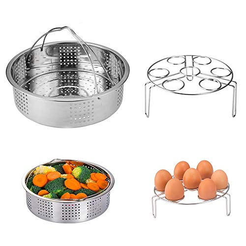 Grizef SUS304 Stainless Steel Steamer Basket with 304 Stainless Steel Egg Steam Rack Compatible with Instant Pot 5,6,8 qt Electric Pressure Cooker