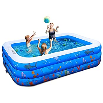 Inflatable Pool,100  X71  X22  Inflatable Swimming Pool FUNAVO Family Swimming Pool for Kids Baby Toddler Adults Blow Up Kiddie Pool for Outdoor Backyard Garden Indoor Lounge