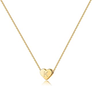 Heart Initial Necklaces for Women Girls - 14K Gold Filled Heart Pendant Letter Alphabet Necklace, Tiny Initial Necklaces f...