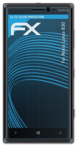 atFolix Schutzfolie kompatibel mit Nokia Lumia 830 Folie, ultraklare FX Bildschirmschutzfolie (3X)