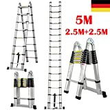 Teleskopleiter 5M Klappleiter Schiebeleitern & A Rahmen Mehrzweckleiter mit Rutschfest