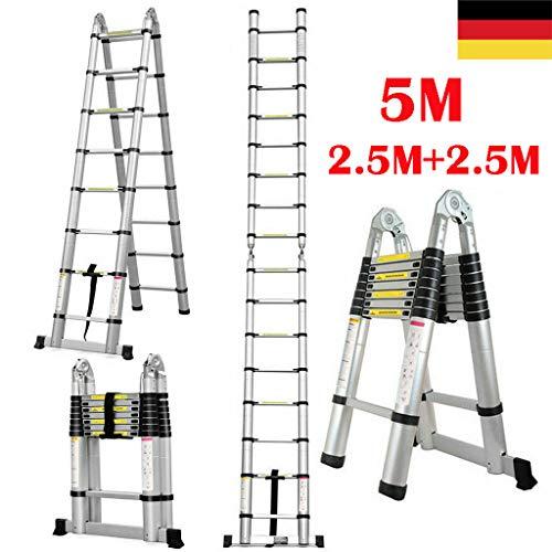 Teleskopleiter 5M Klappleiter Schiebeleitern & A Rahmen Mehrzweckleiter mit Rutschfest Stützstange bis 150 Kg Belastbar (5 M/2.5M+2.5M)