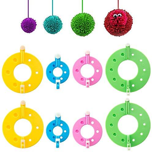 Diealles Shine 8 Piezas 4 Tamaños hacer pompones Fluff Bola DIY Aguja Artesanía Toolkit, Pompones para Decoraciones, Guirnaldas, Colgantes