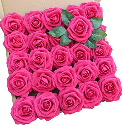 Artificial Flowers 25pcs Real Looking Foam Rose Fake Flowers with Stem Leaves for DIY Wedding product image