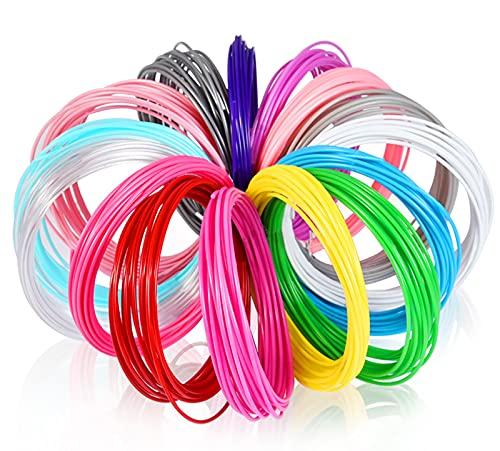 GYAM Filamento para Bolígrafo 3D, 1,75 Mm 5 M / 10 M Recarga De Filamento PCL para Bolígrafo 3D, 10/20 Colores, Materiales De Impresión 3D Regalos para Niños,5m 20 Colors