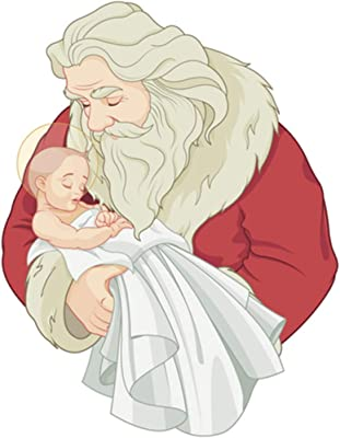 5 Ace Baby Jesus and Santa Sticker Poster|Christian Religion|Jesus Christ psoter|Size:12x18 inch,Multicolor