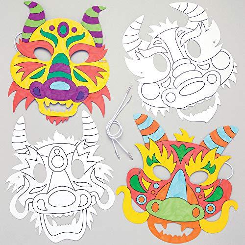 """Baker Ross Masken zum Ausmalen """"Drachen"""" (8 Stück) – für Kinder zum Verzieren und Verkleiden, AR967 Weiß"""