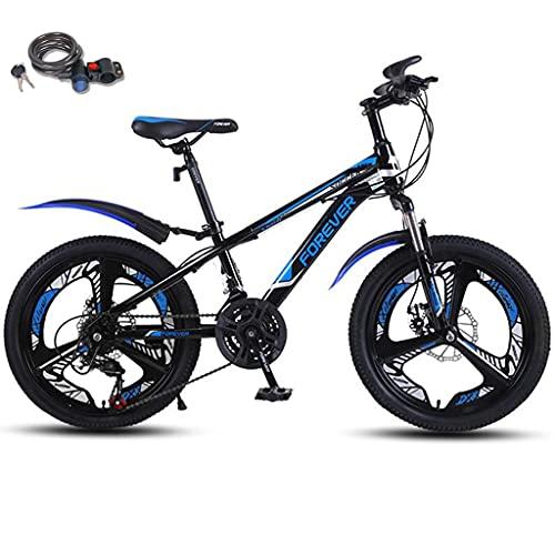 Bicicleta montaña 20 pulgadas con bloqueo bicicleta, suspensión doble 21 velocidades Engranajes MTB de suspensión completa Frenos disco doble Bicicleta montaña para niños Bicicleta 10-13 años,Azul