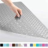 Gorilla Grip Original Patented Bath, Shower, Tub Mat, 35x16, Machine Washable, Antibacterial, BPA, Latex, Phthalate Free, Bathtub Mats with Drain Holes, Suction Cups, XL Size Bathroom Mats, Gray