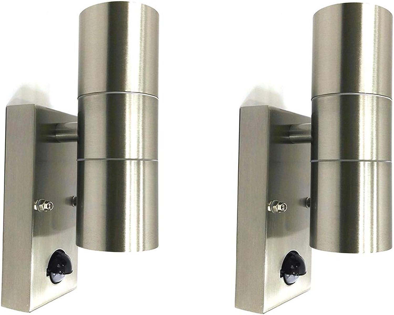 Auen-Wandleuchte Bornholm mit Sensor LED oder Halogen Wandlampe Edelstahl up and down Fassung GU10 Hausbeleuchtung Leuchte hochwertig (Einzeln) (2er-Set mit Halogen LM)