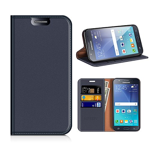 MOBESV Custodia in Pelle Samsung Galaxy J500, Custodia Samsung Galaxy J5 2015 Cover Libro/Portafoglio Porta per Cellulare Samsung J500 Galaxy J5 2015 - Blu Scuro