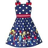 Vestido para niña Dibujos Animados Armada Azul Dot Corbata de moño Verano Sol 4-5 años