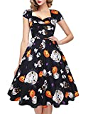 oten Women's 50s Polka Dot Sugar Skull Vintage Halloween Swing Retro Rockabilly Cocktail Party Dress Cap Sleeve