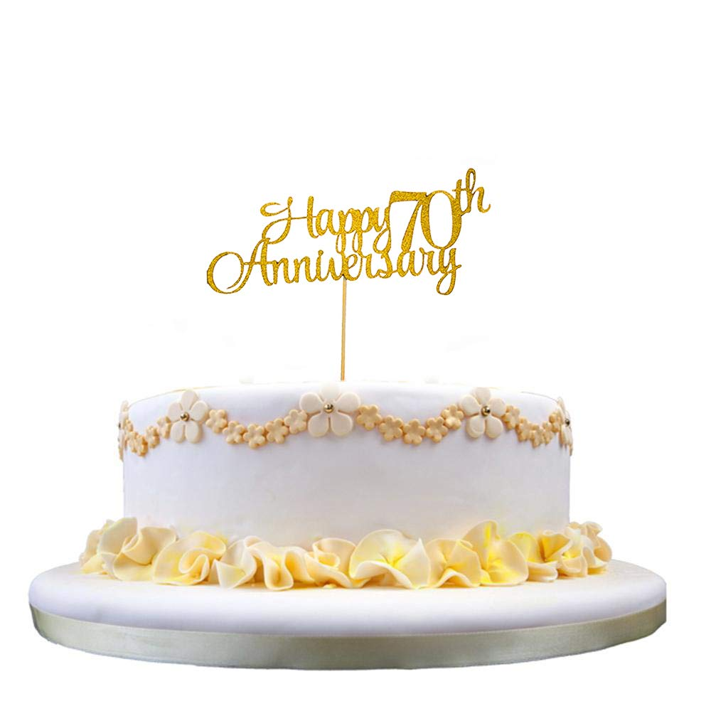 Magnificent Glittery Gold Happy 70Th Anniversary Cake Topper For 70Th Birthday Funny Birthday Cards Online Aboleapandamsfinfo