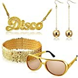 Package contents: our package includes 1 pair of rock disco sunglasses, 2 pieces (1 pair) of ball earrings,1 piece of glitter sequin headband and 1 piece of disco sign necklace, 5 pieces totally in this package, nice accessories for parties and costu...