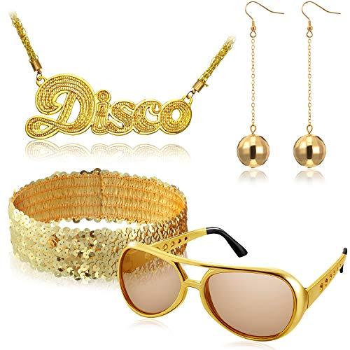 Hicarer 5 Piezas Set de Accesorios de Disfraces de Disco Incluye 1 Par Gafas de Sol Rock Disco, 2 Pendientes de Bolas, Diadema Lentejuelas Brillantes y Collar de Signo Disco para los años 50, 60 y 70