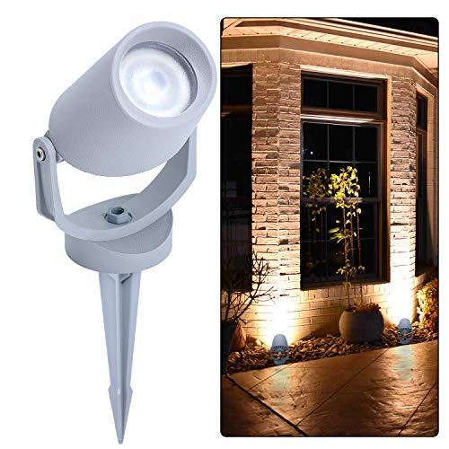 LED Strahler Gartenleuchte mit Erdspieß | Außenlampe für die Beleuchtung von Garten, Terrasse, Pflanzen, Wegen, Teich | Aussen-Leuchte, Außen-Strahler | IP66, GU10, 3,5 m 400lm