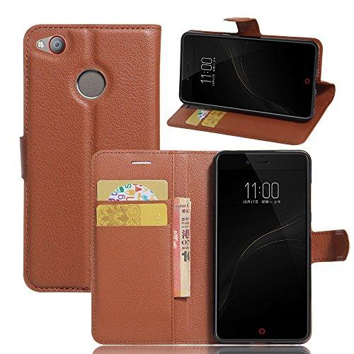 Tasche für ZTE Nubia Z11 Mini S Hülle, Ycloud PU Ledertasche Flip Cover Wallet Hülle Handyhülle mit Stand Function Credit Card Slots Bookstyle Purse Design braun