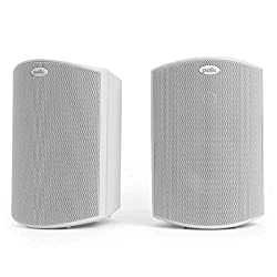 powerful Polk Audio Atrium 4 external speakers with powerful bass (pair, white), all-weather performance, …