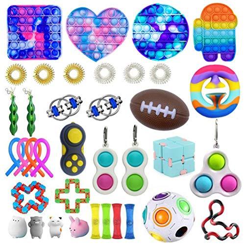 37Pz Giocattoli calmanti per lautismo ADHD, Fidget Toy Packs, Set di Giocattoli Sensoriali Economici Fidget Pack con Simple Dimple Pop Bubble Infinite Cube Sfera Antistress, Giocattolo Antistress