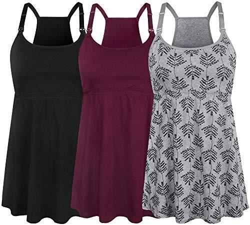 SUIEK Women's Nursing Tank Top Cami Maternity Bra Breastfeeding Shirts (Small, Black+Burgundy+Grey Print - Fourth Style)