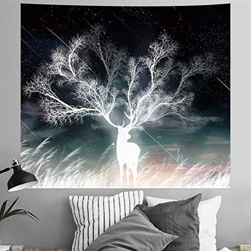 SHINY WENDY Tapiz de pared, diseño de ciervo con efecto meteor, en la niebla del amanecer, arte abstracto, para colgar en la pared, psicodélico, decoración de pared para dormitorio, salón, dormitorio