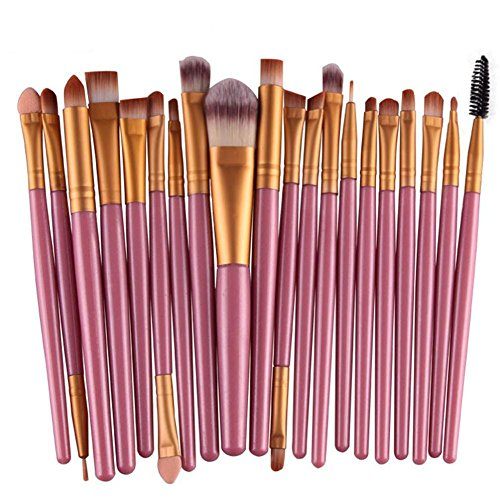 Emorias 20pcs/Ensemble Charmante Brosse de Maquillage pour Fille Magnifique Pinceau à Paupières Brosse à Cils Pinceau Eyeliner Kit de Brosse