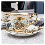 LCBYOG Tazas De Cafe,Juego Tazas De Cafe Copa Taza de Porcelana Juego de café Animal de la Selva del café y platillo Bird Estilo del Mono de Oro de China de Hueso Taza de té (Color : 06)