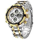 Affute - Reloj de pulsera, para hombre, resistente al agua, diseño militar, deportivo, analógico, digital, doble esfera, pantalla led, cronómetro, acero