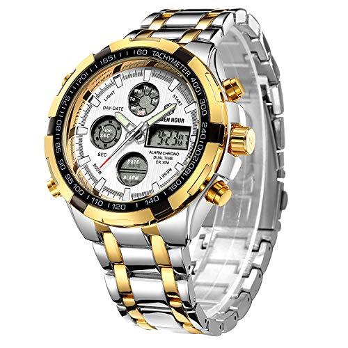 Herren Armbanduhr, wasserdicht, Armee-Stil, sportliches Design, Analog- und Digitalanzeige (LED), integrierte Stoppuhr, breites Stahlband