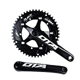 SENQI Bicycle Chain Wheel Fixed Gear 48T Aluminum Alloy CNC Cycling Racing Bike Accessories with Crank(Black)