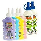 Nice Group - Slime Glue Pastel, kit de 4 colas surtidos y 2 activadores.